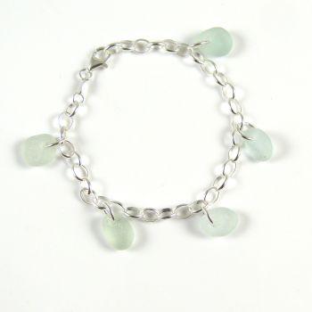 Shades of Pale Blue Sea Glass Bracelet b248