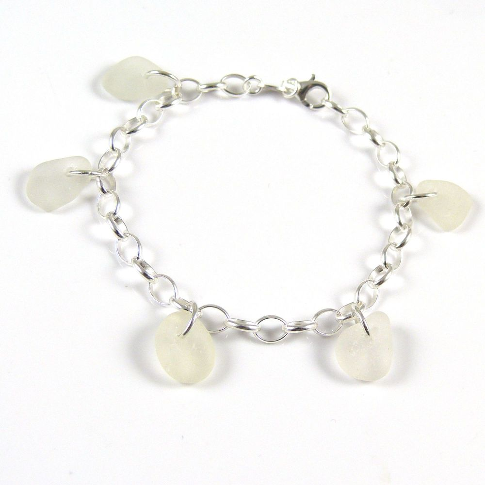Shades of White Sea Glass Bracelet b250