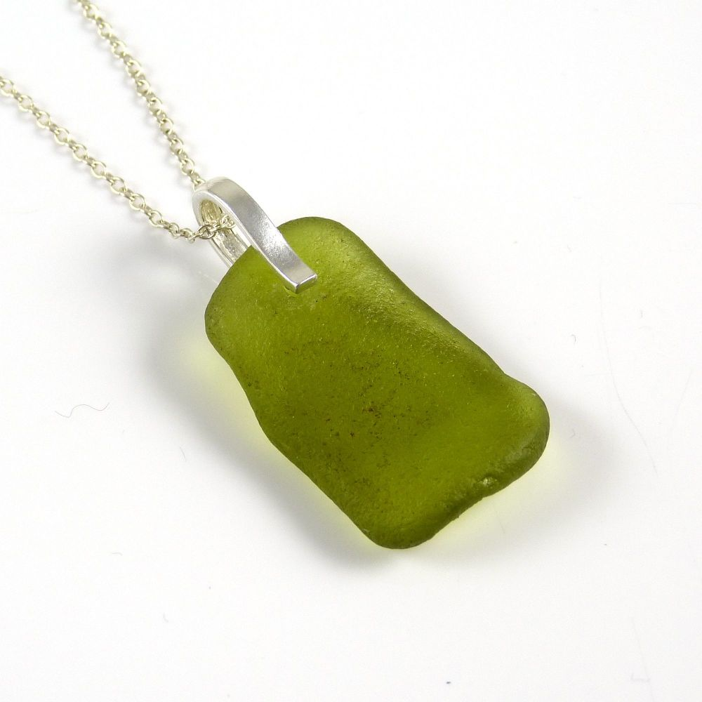 Rare Citron Sea Glass Pendant Necklace GRACE