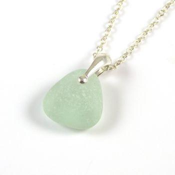 Aqua Sea Glass and Silver Necklace ELLIE