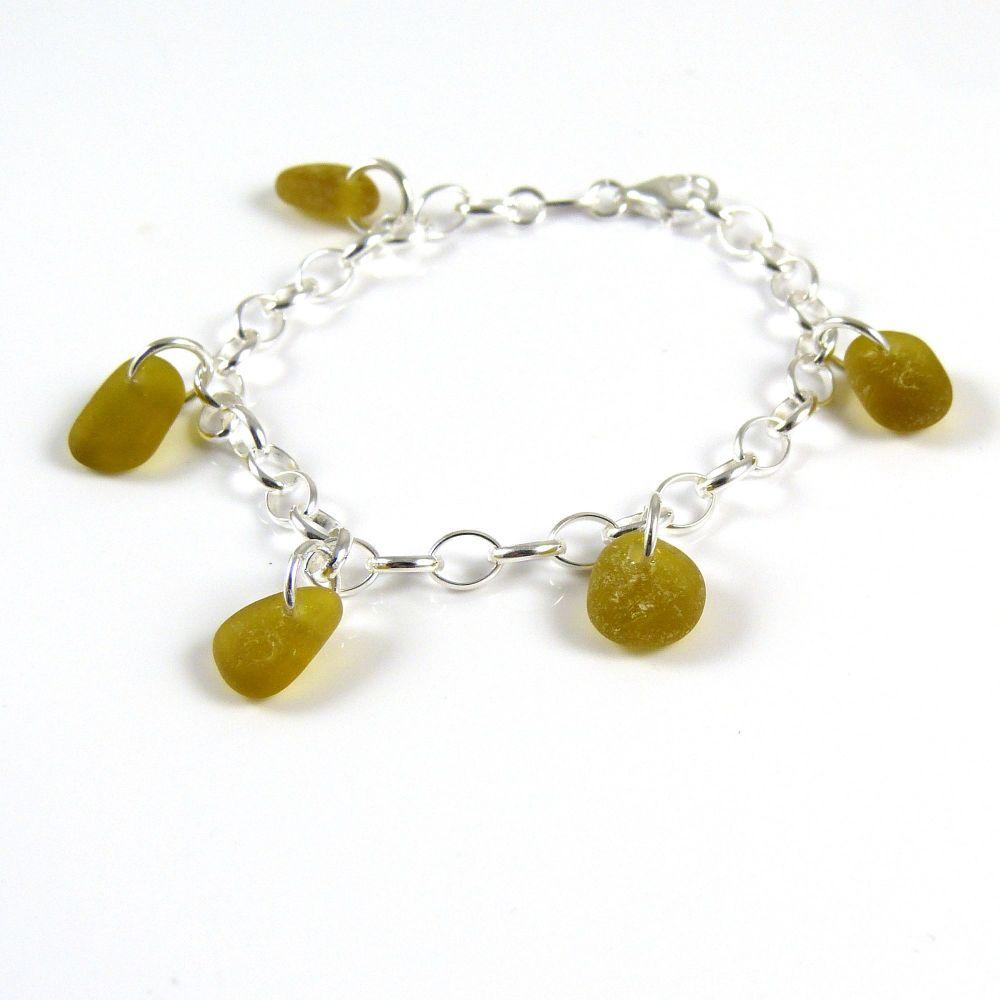 Shades of Amber Sea Glass Bracelet b245