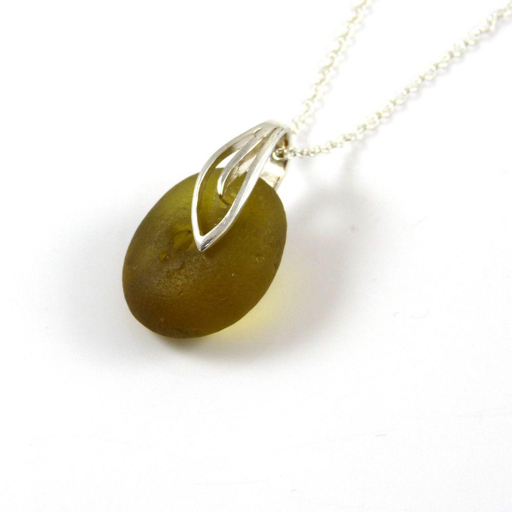 Deep Citron English Sea Glass Necklace ELLIE