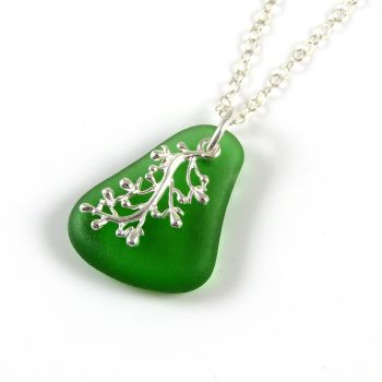 Emerald Green Sea Glass and Silver Coral Charm Necklace JESSICA