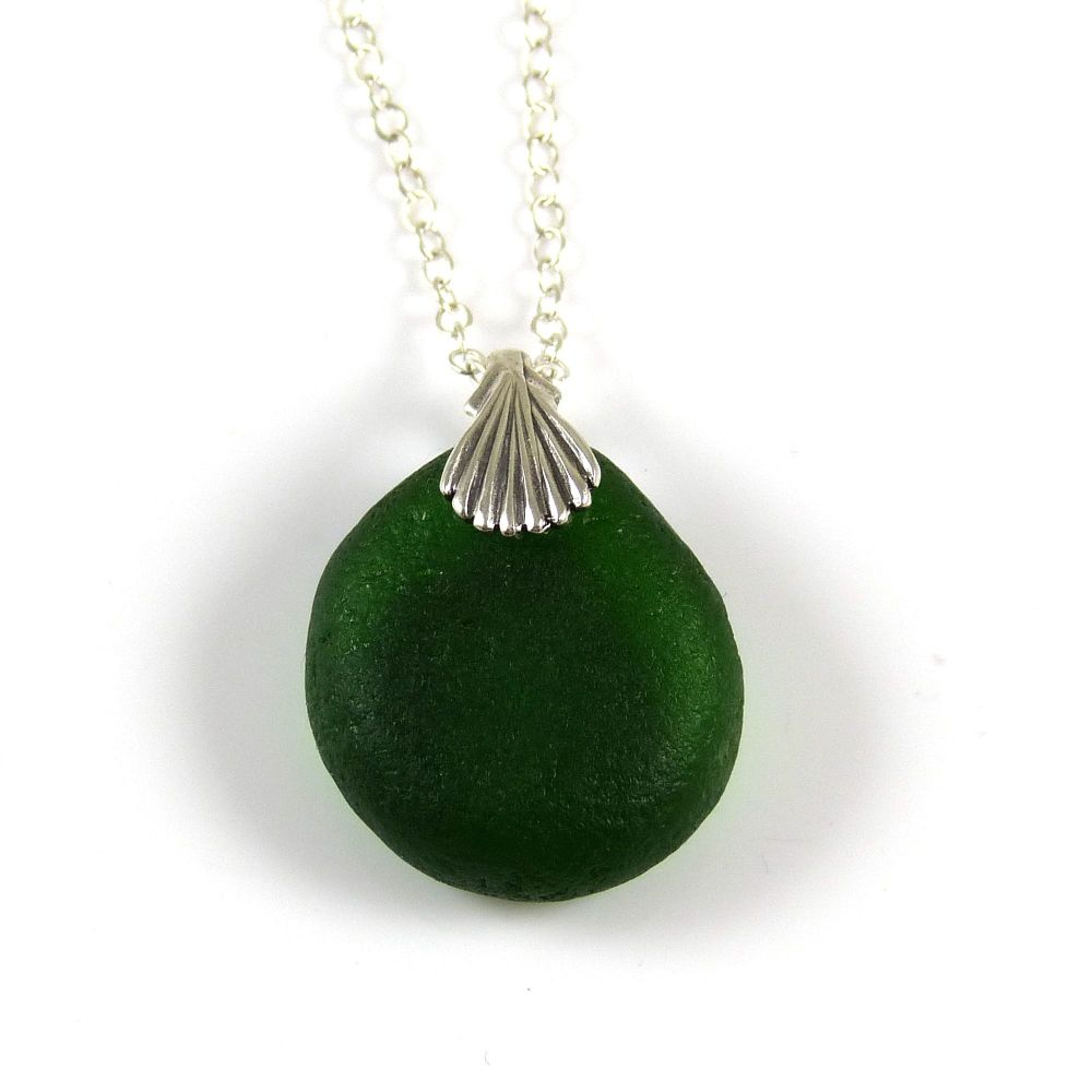 Deep Green Sea Glass Necklace SHANNON