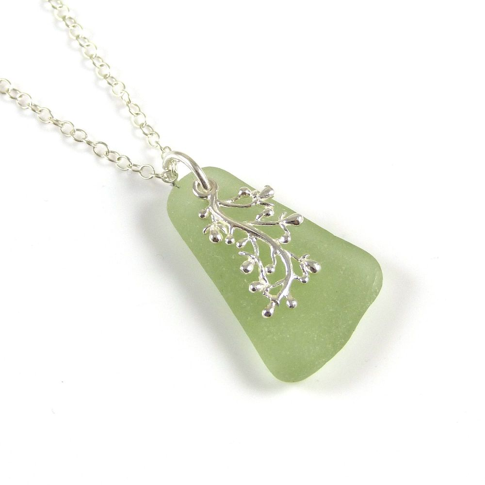 Pale Sage Green Sea Glass Necklace SINEAD