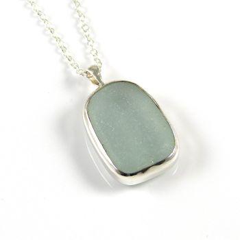 Bezel Set Seafoam Blue Sea Glass Pendant Necklace MOLLY