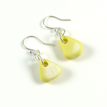Pastel Yellow Milk Sea Glass and Sterling Silver Earrings e146