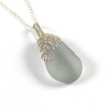 Romantic Soft Grey Sea Glass and Silver Coral Pendant Necklace - MAURA