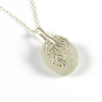 Seamist Sea Glass and Silver Coral Necklace - JULIA