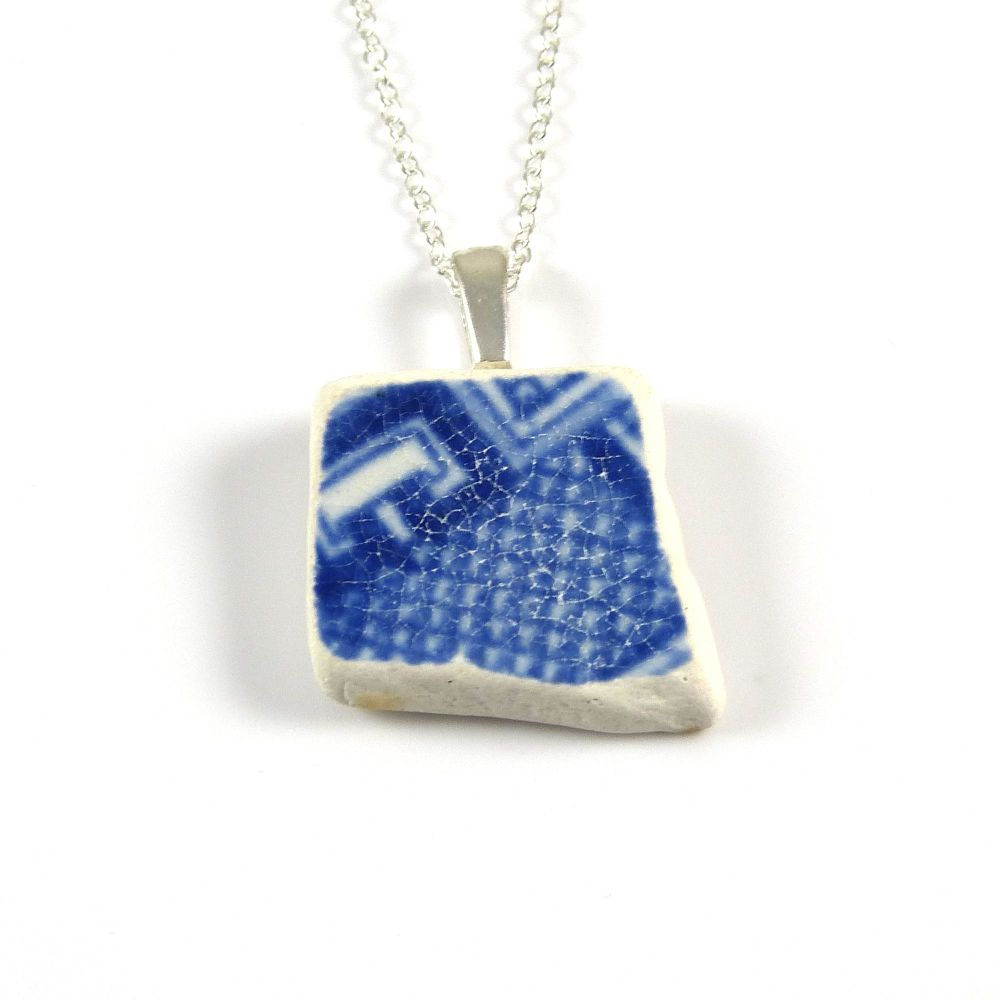 Blue and White English Beach Pottery Pendant Necklace PENNY