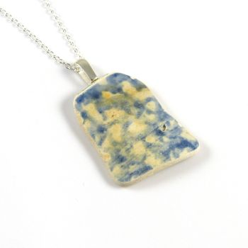 Blue and White English Beach Pottery Pendant Necklace PHOEBE