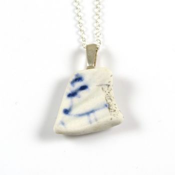 Blue and White English Beach Pottery Pendant Necklace PEARL