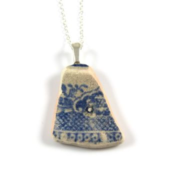 Blue and White English Beach Pottery Pendant Necklace POLINA