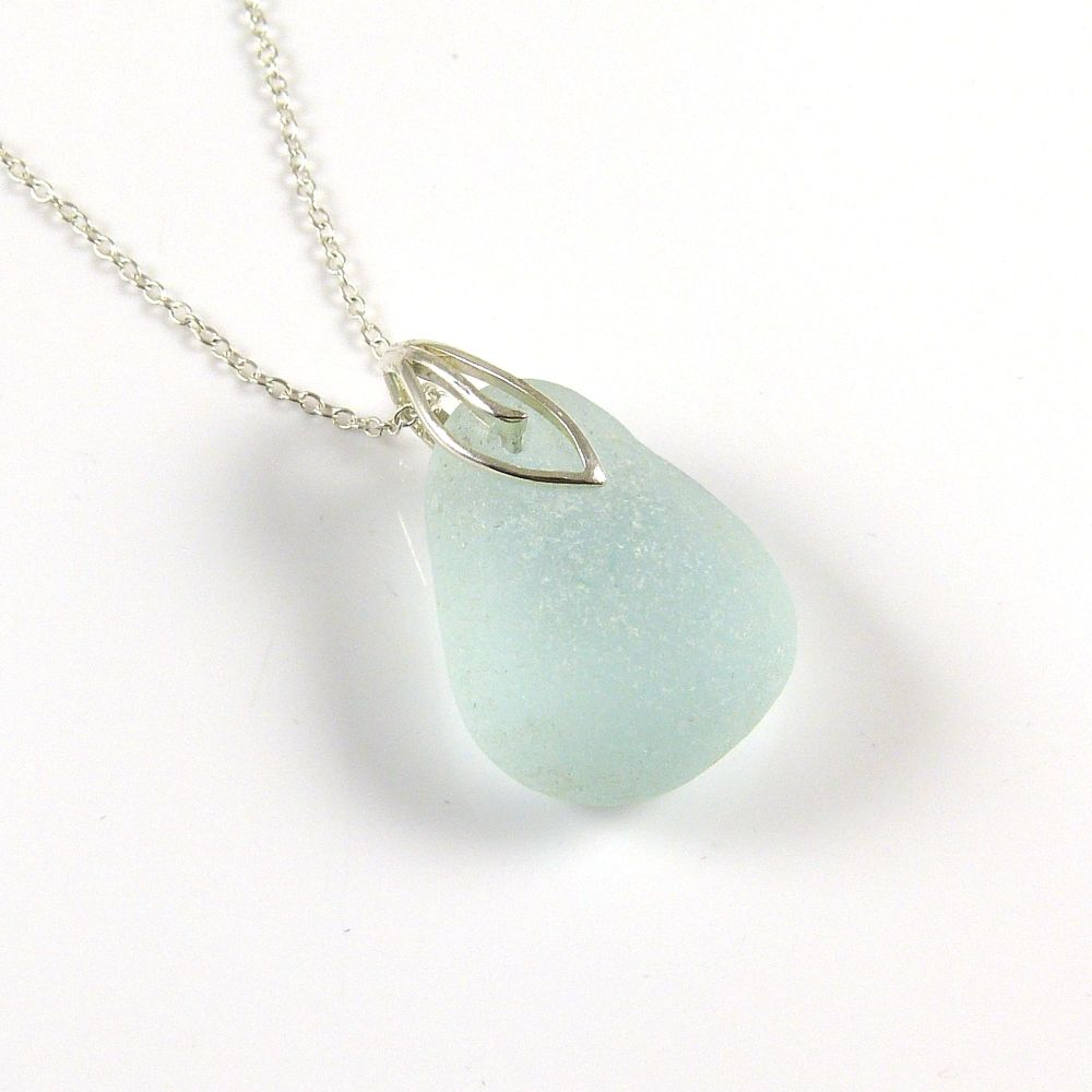 Pale Seafoam Blue Sea Glass Necklace - SONJA