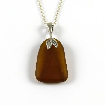 Toffee Brown Sea Glass Necklace Mermaid MONIQUE