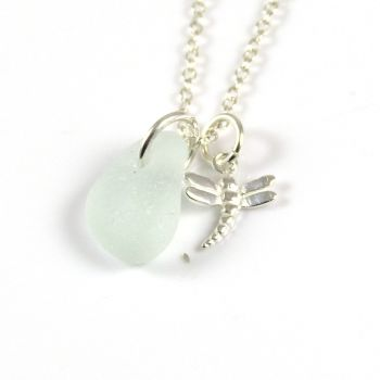 Seafoam Sea Glass and Sterling Silver Dragonfly Necklace ch321