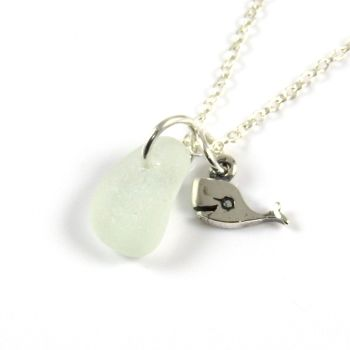 Tiny Seafoam Blue Sea Glass and Sterling Silver Whale Charm Necklace ch323