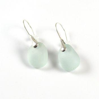 Seafoam Sea Glass and Sterling Silver Earrings e148