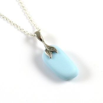 Pastel Blue Milk Glass Necklace MERMAID ADELLA, Seaham
