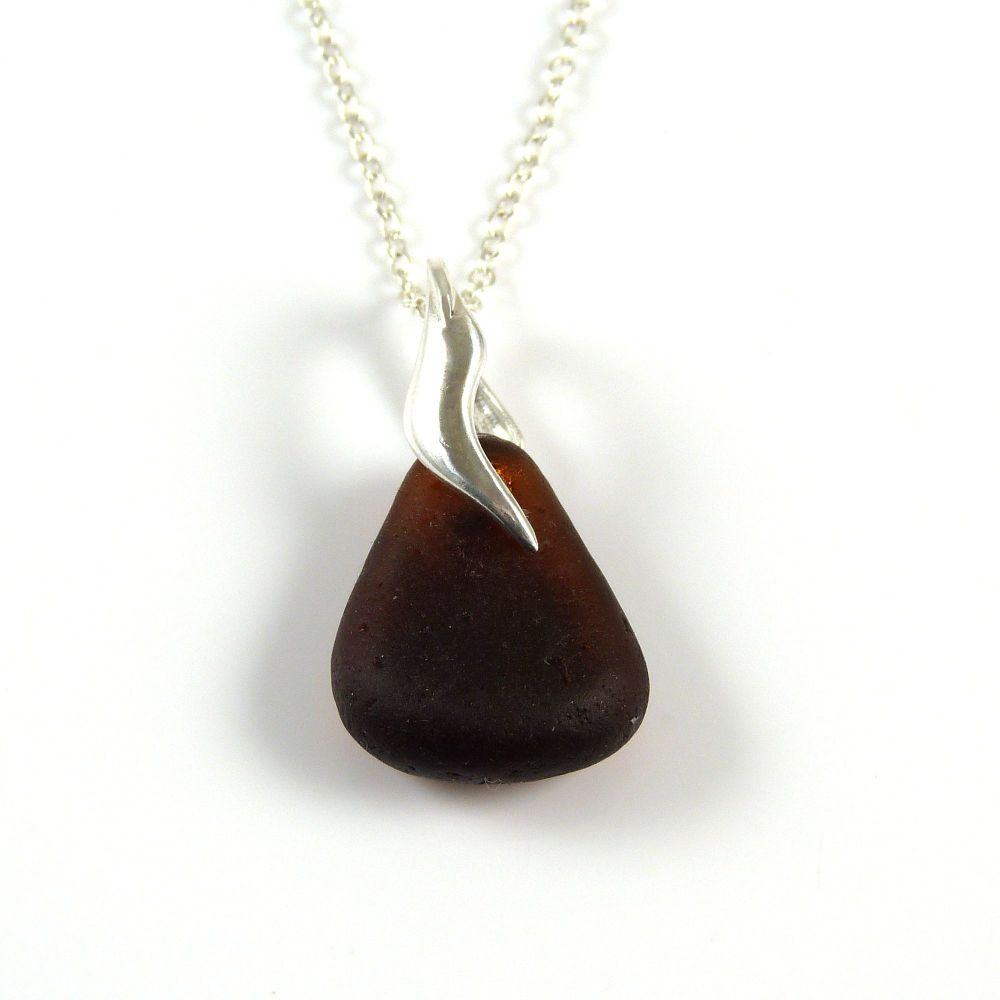 Deep Toffee Sea Glass and Silver Necklace KLARA