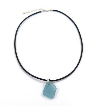 Ocean Blue Sea Glass on Adjustable Rubber Necklet
