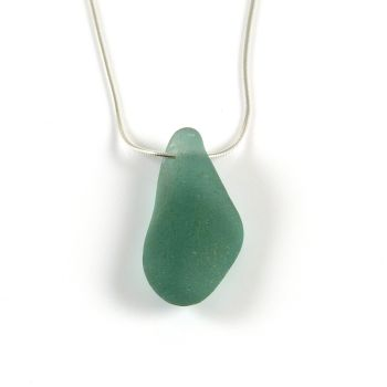 Floating Deep Teal Sea Glass Necklace SIGNE