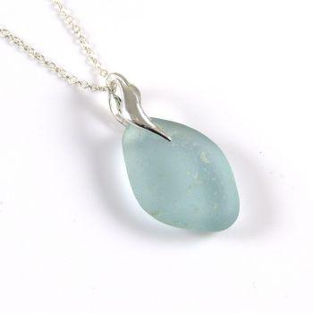 Deep Glacier Blue Sea Glass Necklace, ADRIANNA
