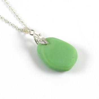 Pastel Green Milk Sea Glass Necklace ELINA