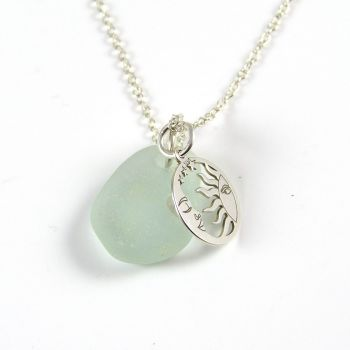 Seafoam Sea Glass and Sterling Silver Sun and Moon Necklace