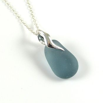 Deep Steel Blue Sea Glass and Silver Necklace LISE