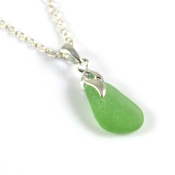 Tiny Pale Soft Green Sea  Glass Necklace