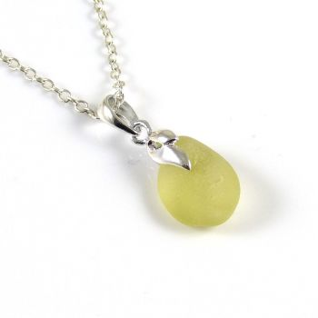 Tiny Light Gold Sea  Glass Necklace