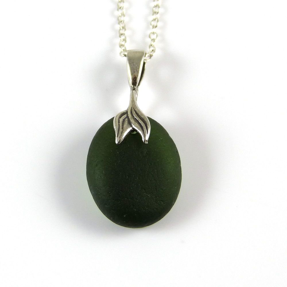 Dark Olive Green Sea Glass Necklace Mermaid MARGOT
