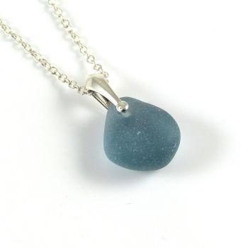 Unique Steel Blue Sea Glass Necklace INNES