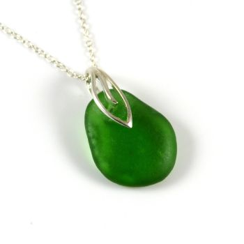 Green Sea Glass Necklace  JAYNE