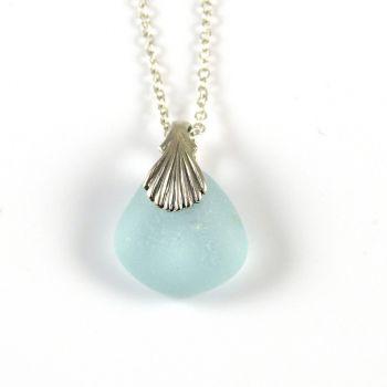 Aqua Sea Glass Necklace, Beach Glass Necklace, Beach Glass Jewellery  DEE