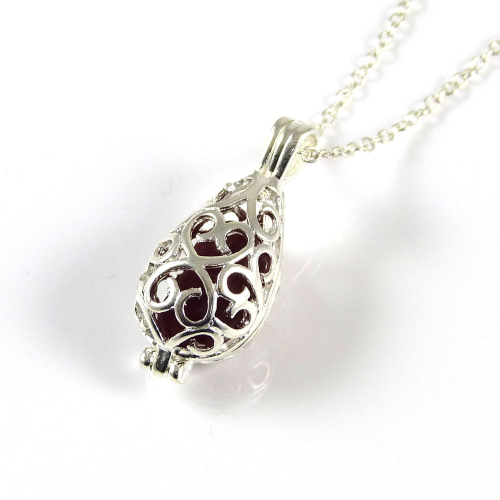 Deep Red Sea Glass Silver Filigree Locket Necklace
