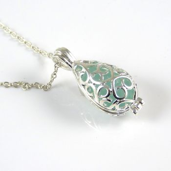 Pale Blue Sea Glass Silver Plated Filigree Locket Necklace