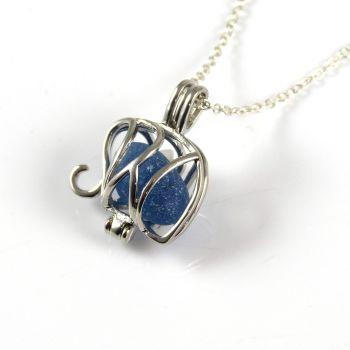 Sapphire Blue Sea Glass Elephant Locket Necklace L128