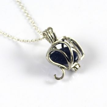 Elephant Cobalt Blue Sea Glass Locket Necklace L129