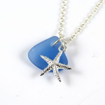 Sapphire Blue Sea Glass and Sterling Silver Starfish Necklace ch321