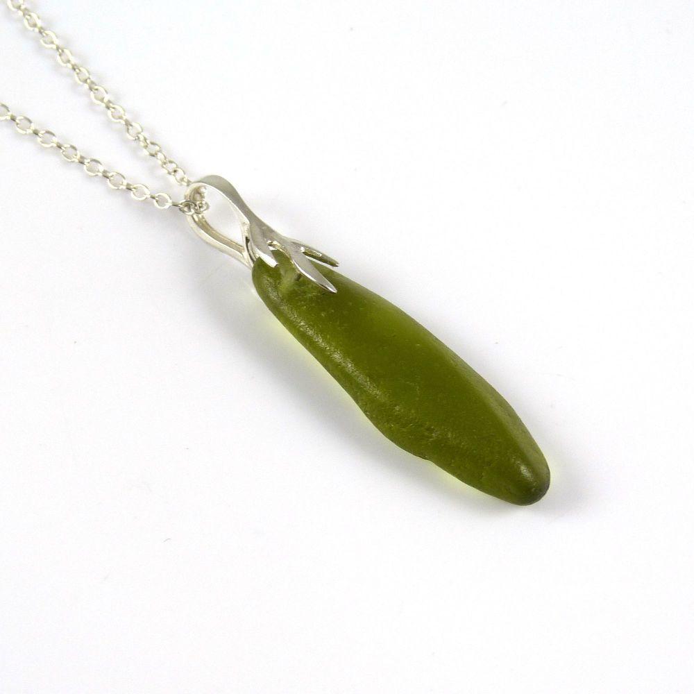 Deep Peridot Green English Sea Glass Necklace GEMMA