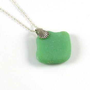 Pastel Green Milk Sea Glass Necklace MARIN