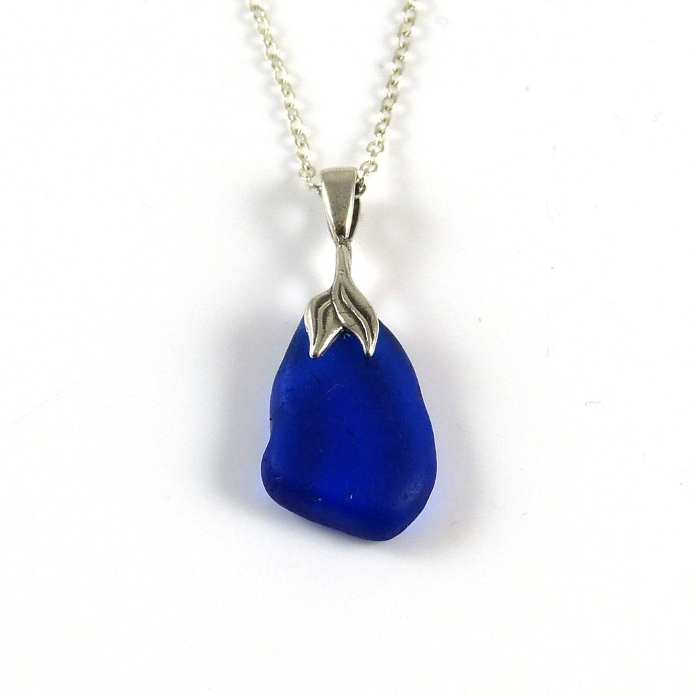 Cobalt Blue Sea Glass Necklace Mermaid MAJA