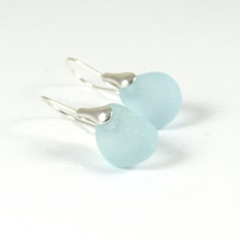 Pale Blue Sea Glass and Sterling Silver Earrings e155