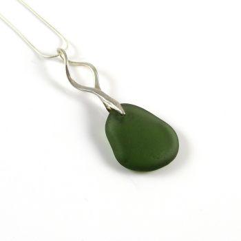 Forest Green Sea Glass Necklace KIERRA