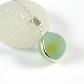 Seamist Sea Glass Floating Marble Necklace L135