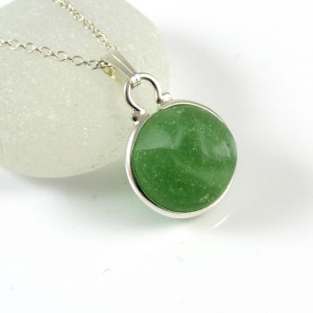Spring Green Floating Sea Glass Marble Necklace L133