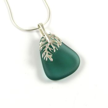 Teal Green Sea Glass Pendant Necklace, Rare Sea Glass, Beach Glass, Beach Jewellery, NIAMH