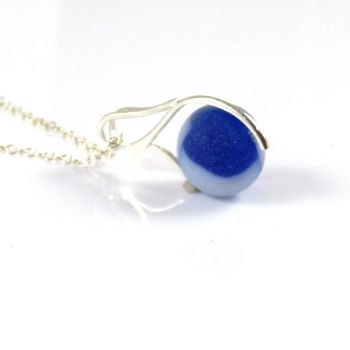 Cobalt Blue and White Swirl Sea Glass Marble Necklace M138